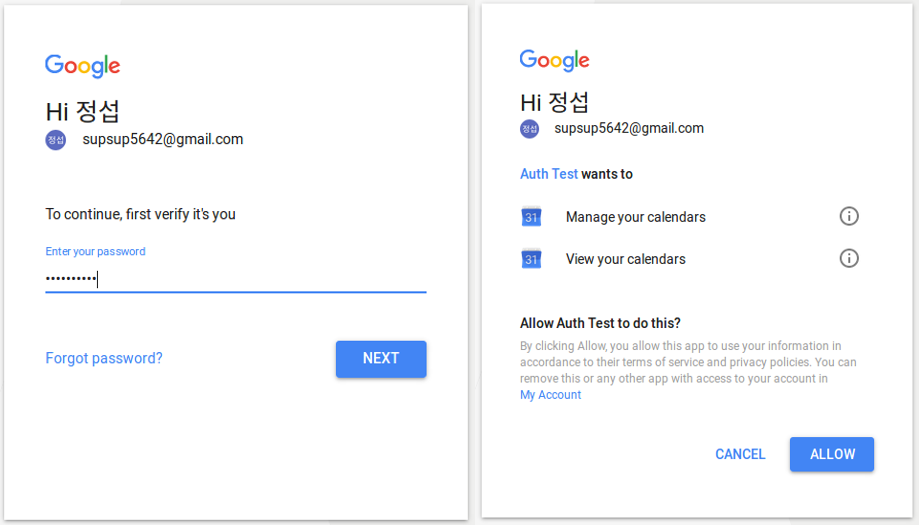 [그림 4] Google OAuth 2.0 Authorization UI